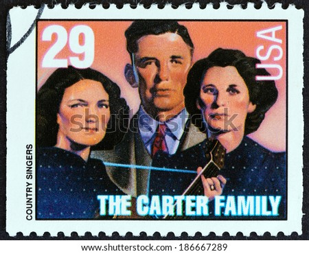"""USA - CIRCA 1993: A stamp printed in USA from the """"American Music Series"""" issue shows the Carter Family, circa 1993. - stock photo"""