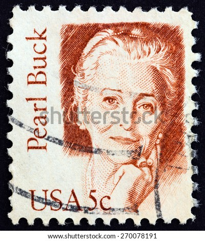 "USA - CIRCA 1980: A stamp printed in USA from the ""Great Americans"" issue shows writer and novelist Pearl Buck, circa 1980."