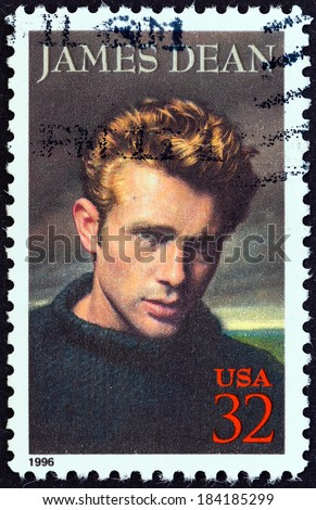 """USA - CIRCA 1996: A stamp printed in USA from the """"Legends of Hollywood """" issue shows James Dean, circa 1996. - stock photo"""