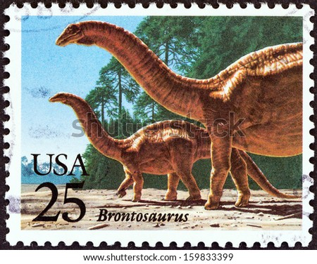 "USA - CIRCA 1989: A stamp printed in USA from the ""Prehistoric Animals"" issue shows Brontosaurus, circa 1989."