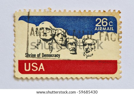 USA-CIRCA 1974 : a stamp printed in USA, identifying Mount Rushmore as a 'Shrine of Democracy', circa 1974 - stock photo