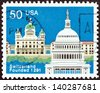USA - CIRCA 1991: A stamp printed in USA issued for the 700th anniversary of Swiss Confederation shows Federal Palace, Bern and Capitol, Washington, circa 1991. - stock photo