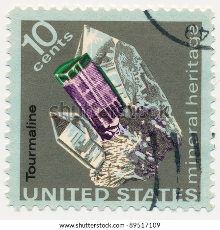 USA - CIRCA 1974: A stamp printed in USA shows a cristal tourmaline, series, circa 1974