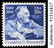 USA - CIRCA 1982:  A stamp printed in USA shows a picture of Franklin D. Roosevelt to celebrates his 100th anniversary birth, circa 1982 - stock photo