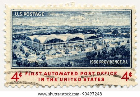 USA - CIRCA 1960: A stamp printed in USA shows Architect's Sketch of New Post Office, Providence, circa 1960