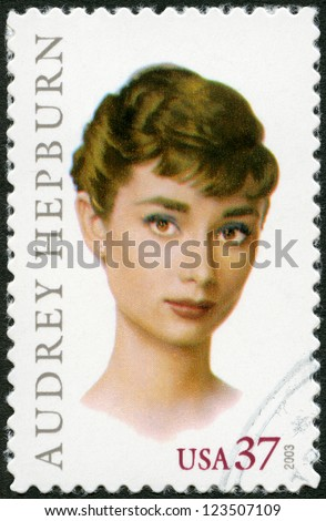 USA - CIRCA 2003: A stamp printed in USA shows Audrey Hepburn (1929-1993), Actress, circa 2003 - stock photo