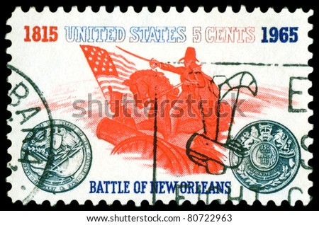 USA- CIRCA 1965: A stamp printed in USA, shows  Battle of New Orleans. General Andrew Jackson and Sesquicentennial Medal, circa 1965