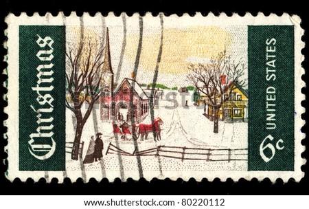 USA - CIRCA 1969: A stamp printed in USA shows Christmas. circa 1969 - stock photo