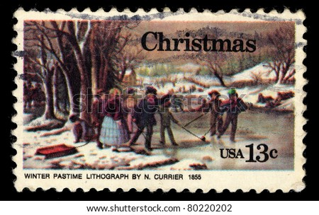 USA - CIRCA 1976: A stamp printed in USA shows Christmas, Winter Pastime Lithograph by N. Currier 1855, circa 1976 - stock photo