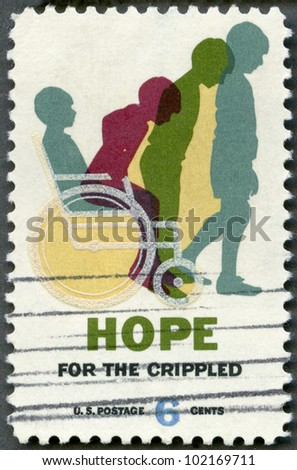 USA - CIRCA 1969: A stamp printed in USA shows Cured Child, Hope for Crippled Issue, Issued to encourage the rehabilitation of crippled children and adults, circa 1969 - stock photo