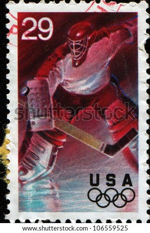 USA - CIRCA 1994: A Stamp printed in USA shows ice hockey, 17th Winter Olympic Games Lillehammer, Norway, series, circa 1994