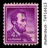 USA-CIRCA 1930:A stamp printed in USA shows image of Abraham Lincoln served as the 16th President of the United States from March 1861 until his assassination in April 1865, circa 1930. - stock photo