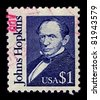 USA-CIRCA 1989:A stamp printed in USA shows image of Johns Hopkins was a wealthy American entrepreneur, philanthropist and abolitionist of 19th-century Baltimore, Maryland, circa 1989. - stock photo