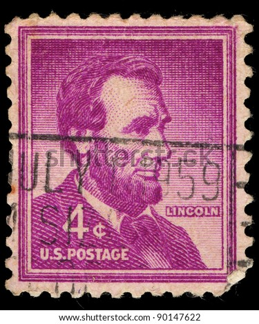 USA - CIRCA 1959: A stamp printed in USA shows image of President Abraham Lincoln, circa 1959 - stock photo
