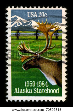 USA - CIRCA 1984:A stamp printed in USA shows image of the Alaska is the largest state in the United States by area, circa 1984.