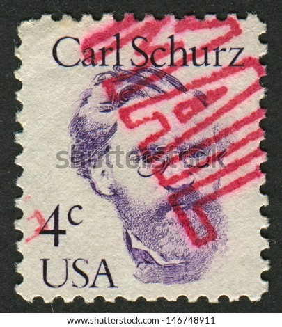 USA - CIRCA 1986: A stamp printed in USA shows image of the Carl Christian Schurz  was a German revolutionary, American statesman and reformer, U.S. Minister to Spain, Union Army General, circa 1986.  - stock photo