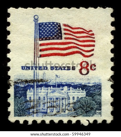 USA - CIRCA 1950: A stamp printed in USA shows image of the dedicated to the American Flag circa 1950. - stock photo