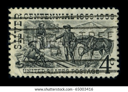 USA - CIRCA 1959: A stamp printed in USA shows image of the dedicated to the Centennial 1859-1959, circa 1959. - stock photo