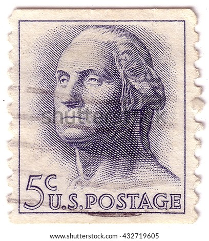 USA - CIRCA 1958: A stamp printed in USA shows image portrait George Washington , circa 1958. - stock photo