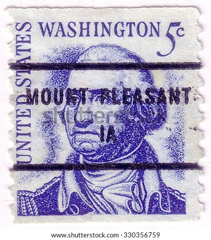 USA - CIRCA 1950: A stamp printed in USA shows image portrait George Washington (1732 -1799), was the first president of the United States (1789 -1797), circa 1950. - stock photo