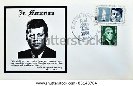 "USA-CIRCA 1970:A stamp printed in USA shows image portrait John Fitzgerald ""Jack"" Kennedy, often referred to by his initials JFK, in memoriam, circa 1970."