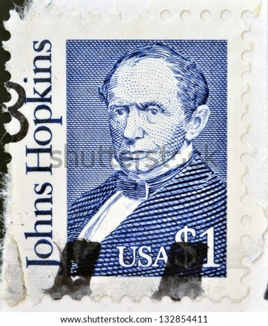 USA-CIRCA 1989:A stamp printed in USA shows Johns Hopkins was a wealthy American entrepreneur, philanthropist and abolitionist of 19th-century Baltimore, Maryland, circa 1989.