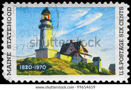 "USA - CIRCA 1970: A Stamp printed in USA shows ""Lighthouse at two Lights"", by Edward Hopper (1882-1967), Maine Statehood Issue, circa 1970"