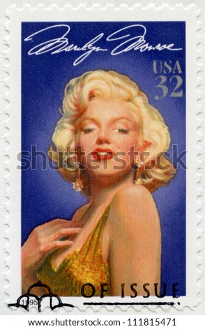 USA - CIRCA 1995: A stamp printed in USA shows Marilyn Monroe (1926-1962), series Legends of Hollywood, circa 1995 - stock photo