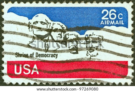 USA - CIRCA 1974: A stamp printed in USA shows Mount Rushmore National Memorial, circa 1974. - stock photo
