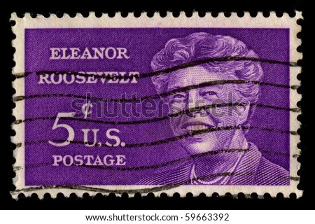 USA - CIRCA 1930: A stamp printed in USA shows Portrait Eleanor Roosevelt circa 1930.