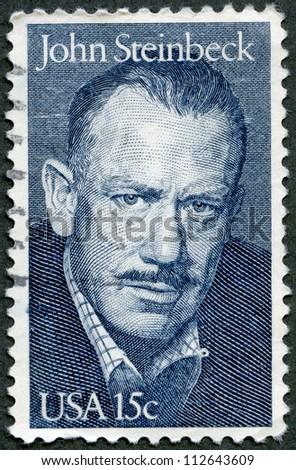 USA - CIRCA 1979: A stamp printed in USA shows portrait of John Ernst Steinbeck, Jr. (1902-1968), novelist, circa 1979 - stock photo