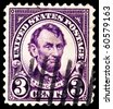 USA - CIRCA 1928 A stamp printed in USA shows Portrait  President Abraham Lincoln  circa 1928. - stock photo