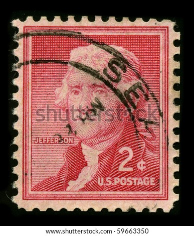 USA - CIRCA 1930: A stamp printed in USA shows Portrait President Thomas Jefferson circa 1930. - stock photo