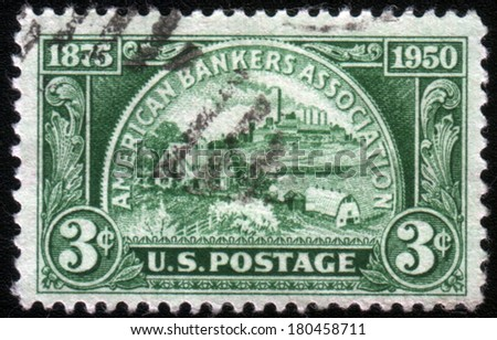 USA - CIRCA 1950: A stamp printed in USA shows the Coin, symbolizing Fields of Banking Service, 75th anniv. of the American Bankers Association, circa 1950