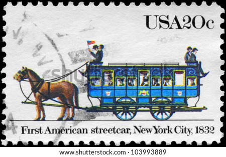 USA - CIRCA 1983: A stamp printed in USA shows the first American streetcar, New York City, 1832, series, circa 1983