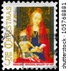 USA - CIRCA 1966: A Stamp printed in USA shows the fragment from �Madonna and Child with Angels�, by the Flemish artist Hans Memling (1430-1494), National Gallery of Art, Washington, circa 1966 - stock photo