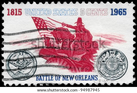 USA - CIRCA 1965: A stamp printed in USA shows the General Andrew Jackson and Sesquicentennial Medal, Battle of New Orleans Issue, circa 1965