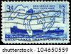 USA - CIRCA 1955: A Stamp printed in USA shows the Map of Great Lakes and two Steamers, Soo Locks Opening, Centenary, circa 1955 - stock photo