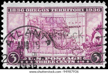 USA - CIRCA 1936: A stamp printed in USA shows the Map of Oregon territory, devoted to centenary of opening, circa 1936