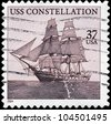 USA - CIRCA 2004: A Stamp printed in USA shows the old frigate USS Constellation (1797), circa 2004 - stock photo