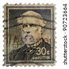 USA - CIRCA 1957:  A stamp printed in USA shows the picture of Robert E Lee, the Confederate General of the Army of Northern Virginia in the American Civil War, circa 1957 - stock photo