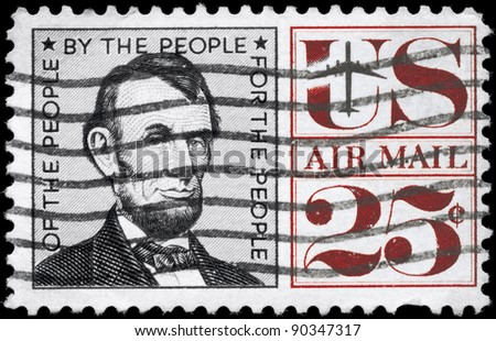 USA - CIRCA 1960: A Stamp printed in USA shows the portrait of a Abraham Lincoln (1809-1865), 16th President of the United States, circa 1960