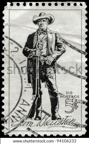 USA - CIRCA 1963: A stamp printed in USA shows the portrait of a Sam Houston (1793-1863), soldier, president of Texas, US senator, circa 1963