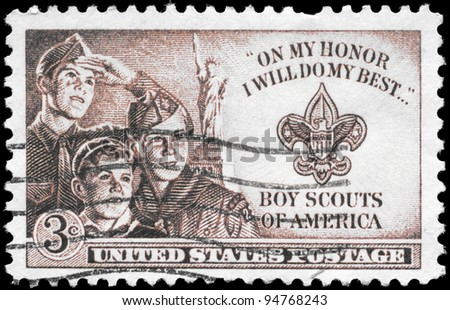 USA - CIRCA 1950: A Stamp printed in USA shows the Three Boys, Statue of Liberty and Scout Badge, circa 1950 - stock photo