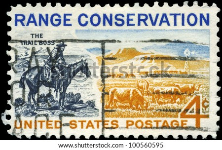 USA - CIRCA 1961: A stamp printed in USA shows the Trail Boss and Modern Range, Conservation Issue, circa 1961 - stock photo