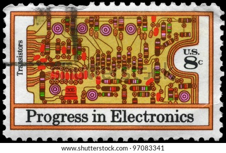 USA - CIRCA 1973: A Stamp printed in USA shows the Transistors and printed Circuit Board, Electronics Progress Issue, circa 1973
