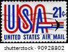 USA - CIRCA 1968: A Stamp printed in USA shows the USA inscription and Jet, circa 1968 - stock photo