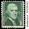 USA - CIRCA 1965: A stamp printed in USA shows Thomas Jefferson, circa 1965 - stock photo