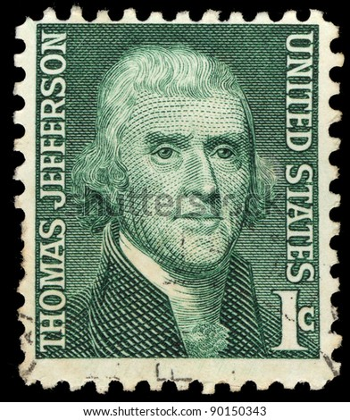 USA - CIRCA 1965: A stamp printed in USA shows Thomas Jefferson, circa 1965