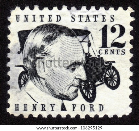 USA - CIRCA 1970: A stamp shows image portrait Henry Ford (1863 - 1947) and car Ford Model T was a prominent American industrialist, the founder of the Ford Motor Company, circa 1970. - stock photo